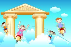 Kids Going to School. Illustration of kids flying on pencil going to school Stock Photography