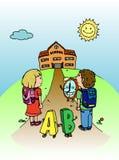 Kids going to school illustration Stock Photos
