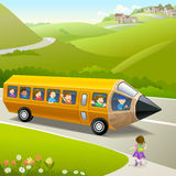 Kids Going to School by Pencil Bus stock illustration