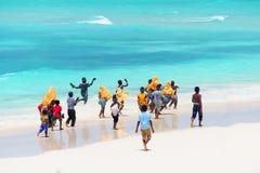 Kids going to school in Zanzibar Stock Images