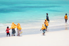 Kids going to school in Zanzibar Royalty Free Stock Image