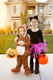 Kids Going Trick or Treating on Halloween. Two cute kids in Halloween costumes going trick or treating Stock Photography