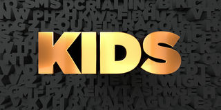 Kids - Gold text on black background - 3D rendered royalty free stock picture Royalty Free Stock Photography