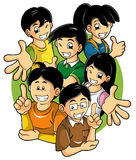 Kids with good attitude. Cartoon illustration of smart, cheerful and supportive children Stock Image