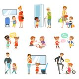 Kids good manners set, polite children helping adults, giving way to transport, thanking each other vector Illustrations royalty free illustration