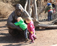 Kids and gorilla Stock Photography