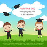 Kids graduation day with boy and girl throwing graduation cap to. The sky in cartoon style Royalty Free Stock Photo