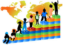 Kids and graph. Illustration of kids on the graph and map Royalty Free Stock Images