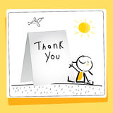Kids gratefulness thank you card. Vector illustration. Child writing thank you. Sketch, scribble style doodle Stock Image