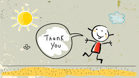 Kids gratefulness thank you card. Vector illustration. Jumping child saying thank you in a speech balloon. Sketch, scribble style doodle Royalty Free Stock Image