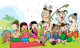Kids group of ancient thailand Royalty Free Stock Photo