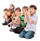 Kids group cleaning teeth Stock Images