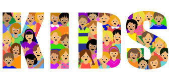 Kids Group Headline. Illustration of a group of colorful and diverse children incorporated into the word KIDS Stock Image