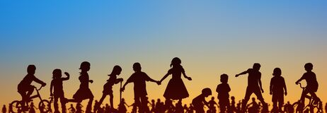 Free Kids, Group Of Children Playing With Sunset Sky Background -  People Silhouette - Royalty Free Stock Image - 183843506