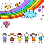 Kids group and rainbow Royalty Free Stock Image