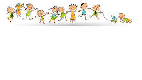 Kids group, set. Happy smiling kids group in a row; children playing with toys. Hand drawn stick figures style, line art vector illustration Royalty Free Stock Image