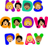 Kids Grow Play. Three illustrated headlines in a colorful alphabet with diverse children Stock Image
