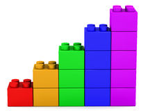 Kids growth. Children growth and learning concept, kids toy blocks in a rising graph format on white background stock illustration