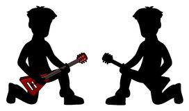 Kids - guitarist silhouettes Royalty Free Stock Image