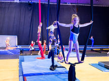 Kids in gymnastic show Royalty Free Stock Photos