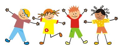 Kids and gymnastics, four children, two girls and two boys. Children on the move. Vector icon Stock Photo