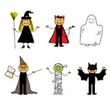 Kids in halloween clothes Royalty Free Stock Image