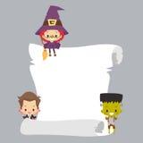 Kids Halloween Costume with Blank Scroll Stock Photo
