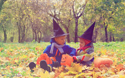 Kids in halloween costume play at autumn nature Royalty Free Stock Image