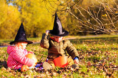 Kids in halloween costume play at autumn park Stock Photos