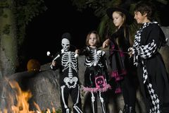 Kids In Halloween costumes Cooking Marshmallows On Campfire Stock Photography