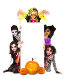 Kids in Halloween costumes Royalty Free Stock Photos