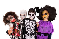 Kids in Halloween costumes Stock Images