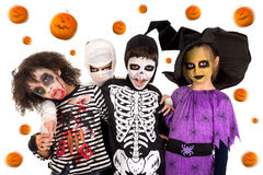 Kids in Halloween costumes Royalty Free Stock Image