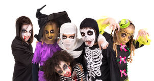 Kids in Halloween costumes Royalty Free Stock Images