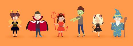 Kids in halloween costumes. Funny and cute carnival kids set. vector illustration