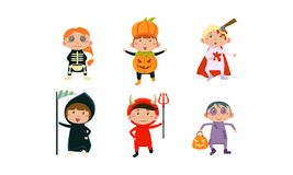 Kids in Halloween costumes set, cute children at carnival clothes vector Illustration on a white background. Kids in Halloween costumes set, cute children at stock illustration