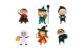 Kids in Halloween costumes set, funny children wearing carnival clothes vector Illustration on a white background. Kids in Halloween costumes set, funny children royalty free illustration