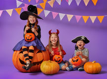 Kids at halloween royalty free stock image