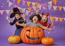 Kids at halloween stock photos