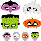 Kids Halloween Masks Set. Halloween monsters, cut out the edge to make cute and spooky masks Stock Images