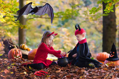 Kids on Halloween trick or treat Royalty Free Stock Photo