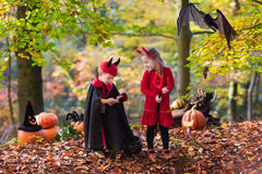 Kids on Halloween trick or treat Stock Image