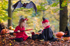 Kids on Halloween trick or treat Stock Images