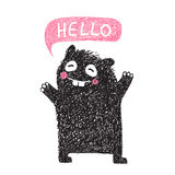 Kids Hand Drawn Black Monster say Hello Stock Photos