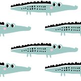 Kids hand drawn seamless pattern with crocodiles. Summer background. Vector illustration. Print for baby design. Scandinavian style Stock Photography