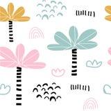 Kids hand drawn tropical seamless pattern stock illustration