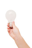Kids hand holding light bulb. Idea concept. stock photos