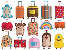 Free Kids Hand Luggage And Travel Suitcases Stock Image - 144364811