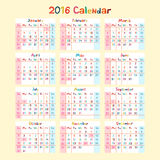Kids hand made calendar on 2016 year. Art Royalty Free Stock Image