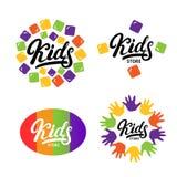 Kids hand written lettering logo, label, bage, emblem. Stock Photography